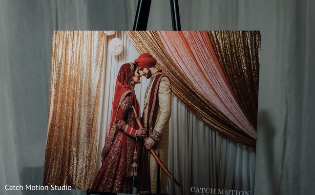 Indian couple photography frame decoration.