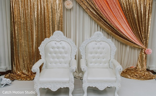 White Indian bride and groom's ceremony seats.