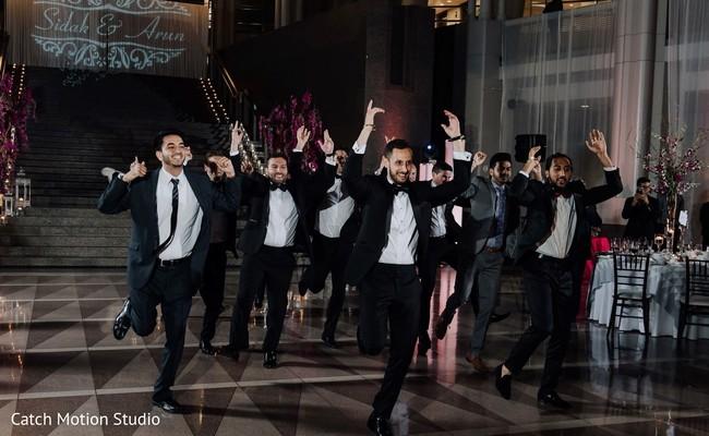 Raja and groomsmen at reception choreography.