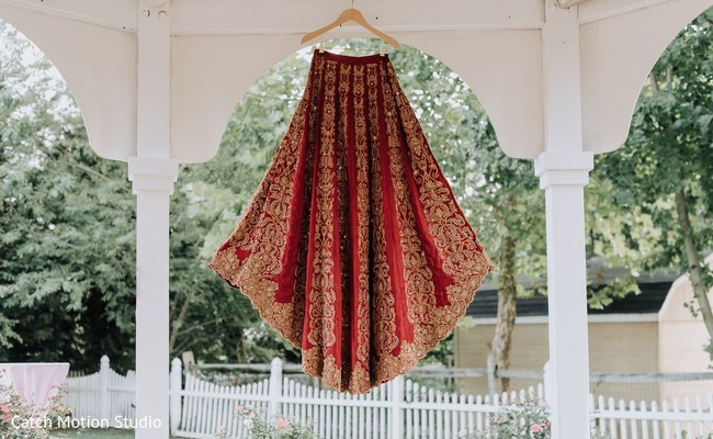 Indian bridal red ceremony Lehenga.