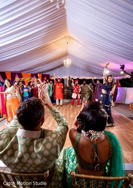 Indian bridesmaids and groomsmen sangeet dance.