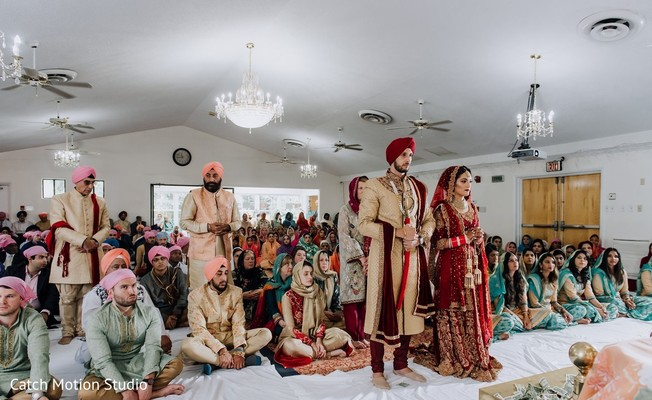 Indian bride and groom a sikh wedding ceremony.