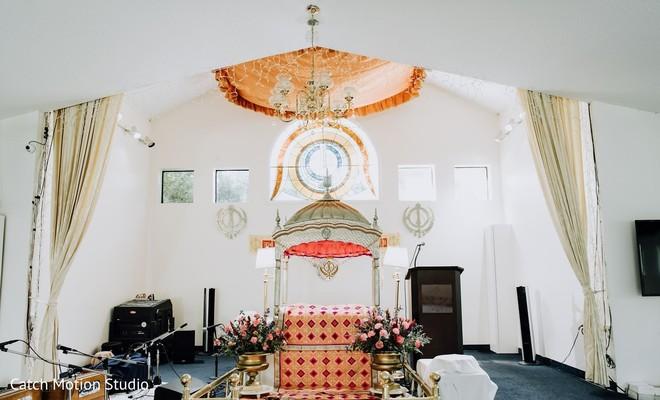 Sikh Indian wedding ceremony venue decoration.
