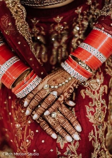 Indian bridal squared stones on hathphool.