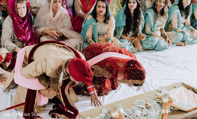 Indian couple at sikh ceremony rituals.