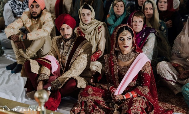 Indian bride and groom on sikh ceremony fashion.