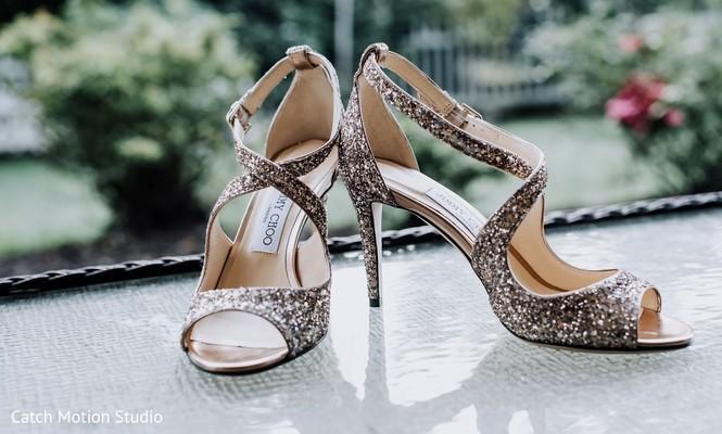 Maharani's silver glitter wedding high heel shoes.