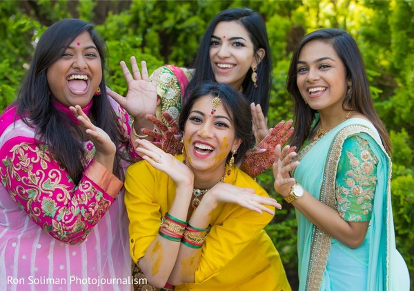 Indian bride and her Indian bridesmaids after Gaye Holud