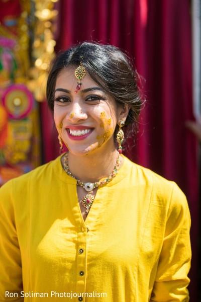 Maharani smiling after Gaye Holud