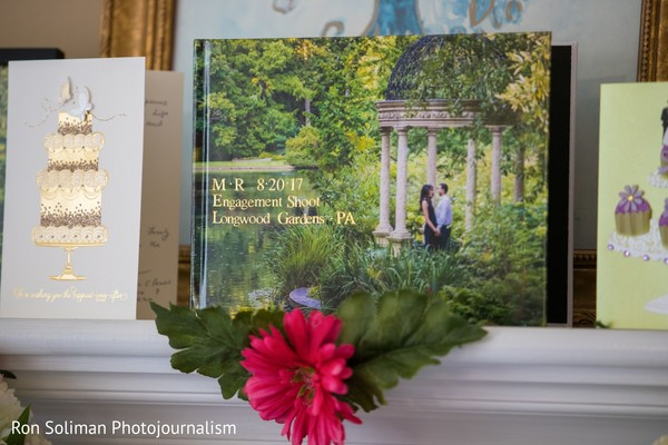 Cards and a photo album of the Indian couple's engagement
