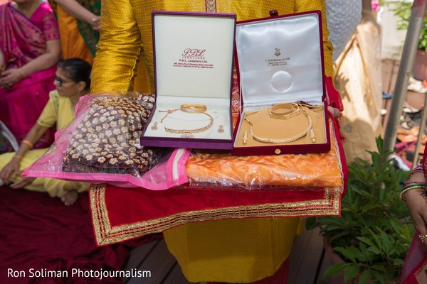 The jewels and clothing to be worn by the Indian bride