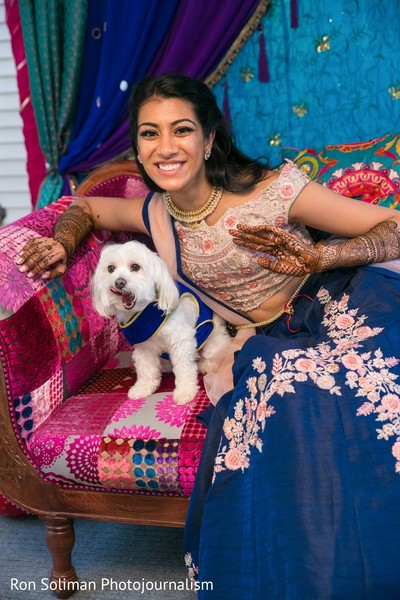 Indian bride and her pet dog