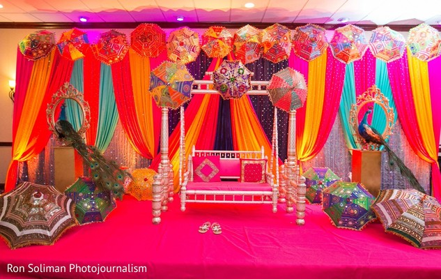 The decorations on the stage in the Sangeet hall