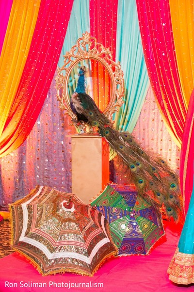 A peacock as part of the decorations at the sangeet hall