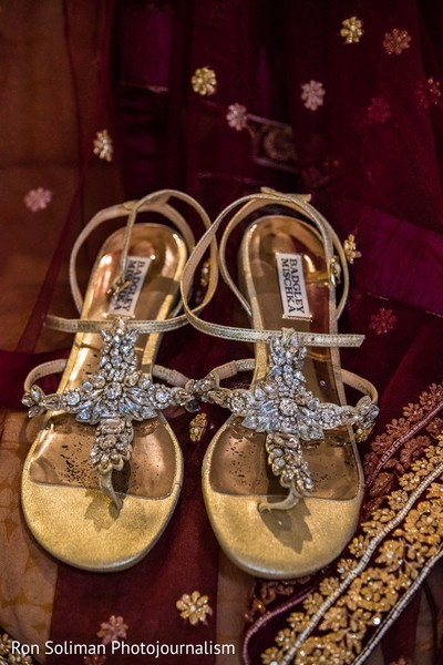 The shoes to be worn by the Indian bride
