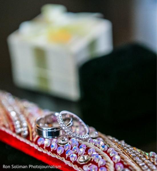 Indian wedding white golden and diamonds wedding rings.