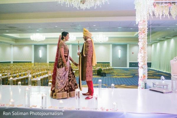 Indian bride and groom's romantic first look moment