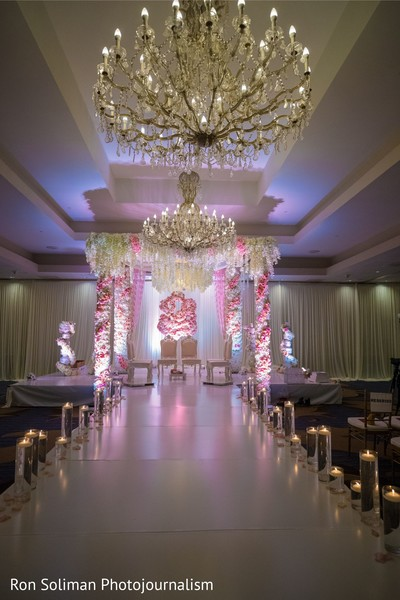 Incredible Indian wedding ceremony flowers and lights decorations.