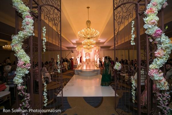 Indian wedding ceremony mandap and aisle decorations.