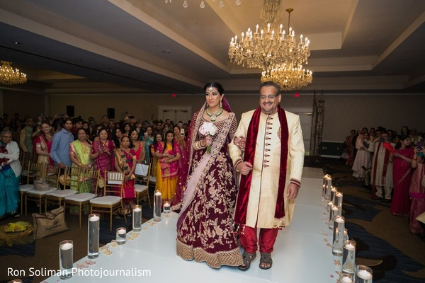 Maharani walking down the aisle with father.
