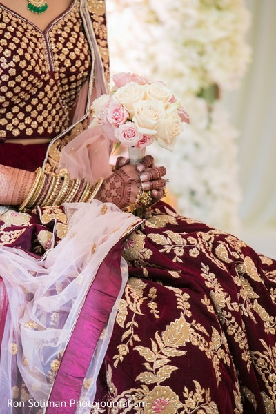 Indian bridal ivory and pink roses ceremony bouquet.