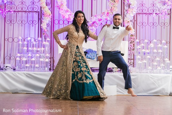 Indian bride and groom's reception dance.