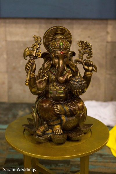 Indian golden God Ganesha Puja decoration.