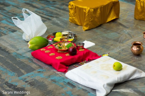 Indian wedding ritual items for ceremony.