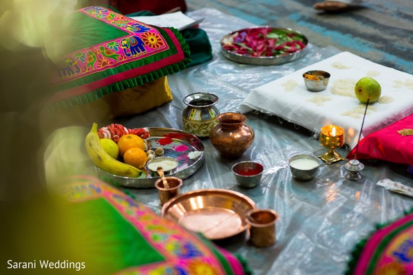Indian wedding ceremony sacred ritual items capture.