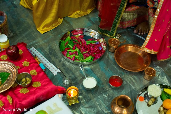 Indian wedding ceremony ritual items capture.