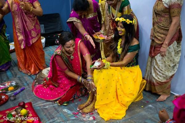 Maharani at her Gaye Holud ritual.