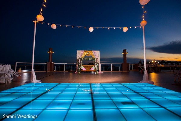 By the beach Indian sangeet venue decoration.