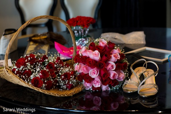 Indian bridal pink and red wedding bouquet and shoes.