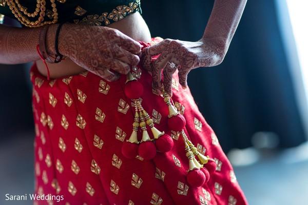 Indian bridal lehenga red  Latkan Pom Pom Bell Tassel.