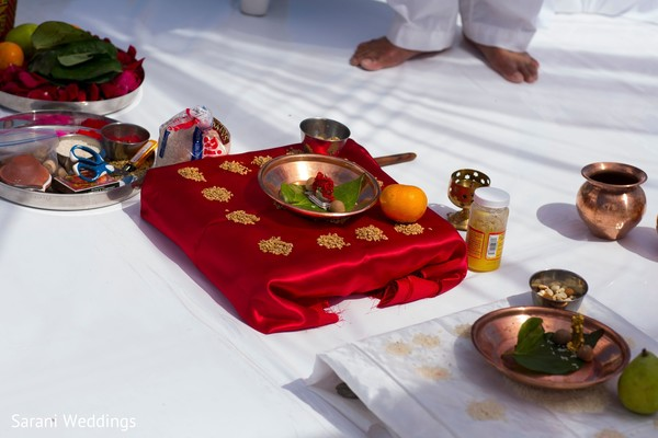 Indian wedding ceremony ritual items setup.