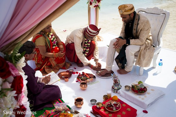 Indian groom at his Dwar Puja rituals.