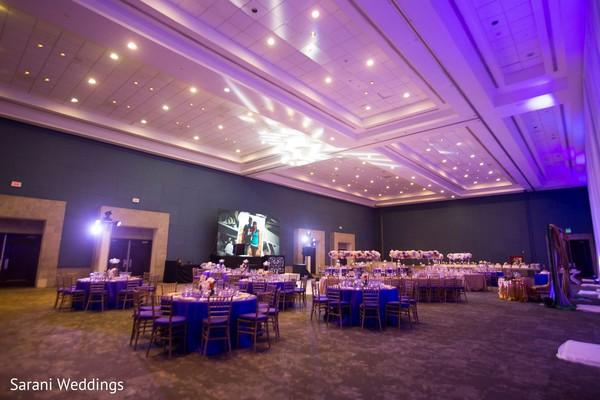 Indian wedding table setup and lights decor.
