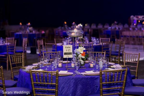 Indian wedding reception royal blue tablecloth.