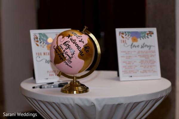 Personalized world globe Indian wedding decoration.
