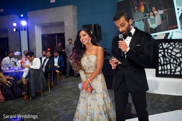 Indian groom at reception speech capture.