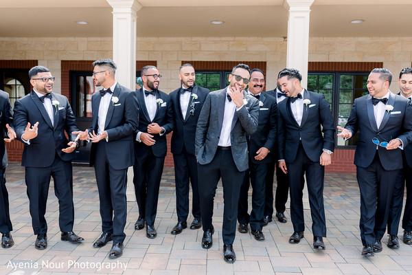 Indian groom and Indian groomsmen spending some time