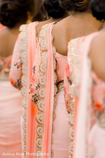 Indian bridesmaids peach and pearls ghoonghat.