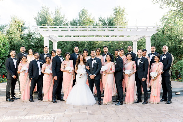 Outdoors Indian couple with birdesmaids and groomsmen capture.