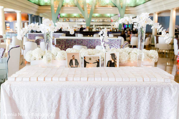 Indian wedding white place ards table decoration.
