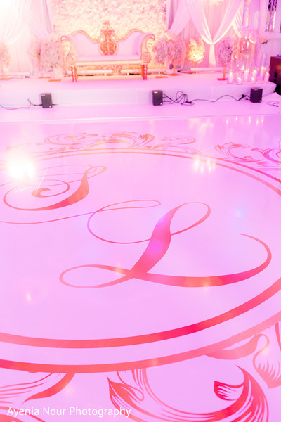 Indian wedding personalized white dance floor