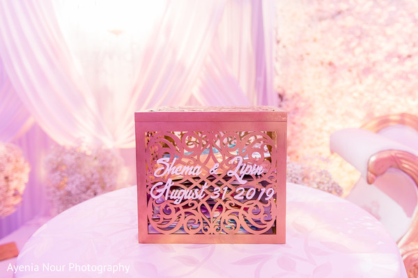 Indian wedding personalized cards golden box.