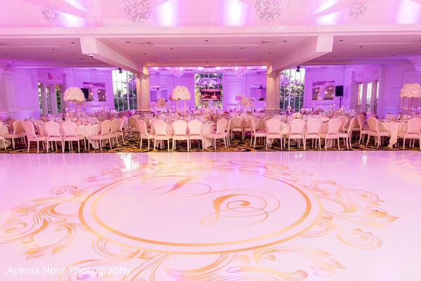 Indian wedding reception dance floor setup.