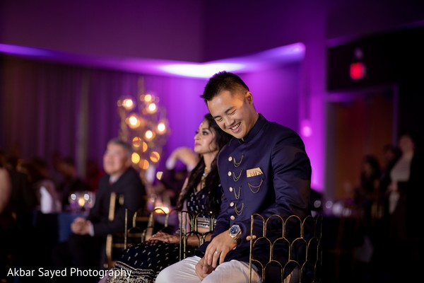 Indian couple at wedding reception party.