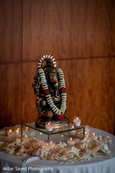 Indian wedding Ganesha Puja decoration.