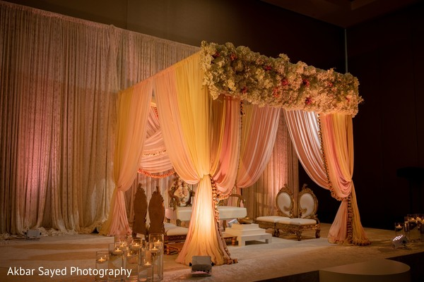 Light orange and peach mandap color.